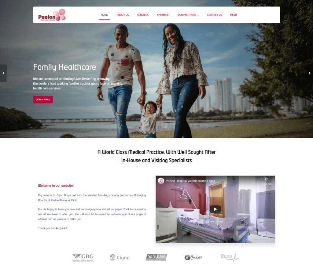 Paelon Memorial Hospital Website - Web Development